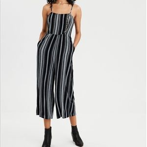 American Eagle Striped Button Front Jumpsuit